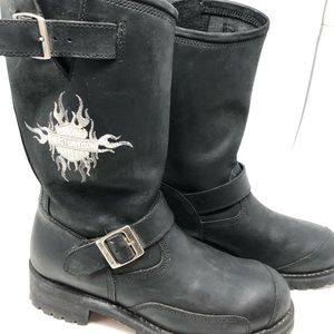 Harley Davidson Black Leather Biker Boots Mens 9